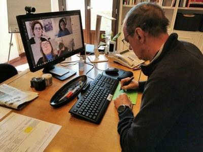 Videotrucada amb representants de l'Associació Slow Shop Lleida